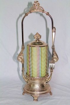 Rainbow Mother-of Pearl Satin Herringbone Pickle Castor  c. 19th Century
