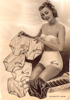 Remember the bikini panties that had the day of the week on them! I guess our Moms were wearing the full brief version. Vintage Advertisements, Vintage Ads, Vintage Posters, Funny Vintage, Photo Vintage, Vintage Photos, Vintage Artwork, Lingerie Retro, Parachutes