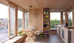 Simple fir interior in modern cabin, Vestfold Norway.