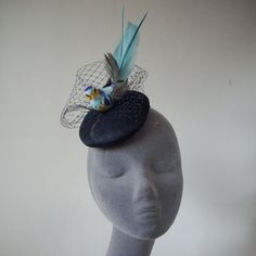 NavyBlue Bird Fascinator with Navy Veiling by ImogensImagination, £40.00
