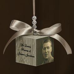 Memorial Photo Block Ornament Gift. $18.00, via Etsy.