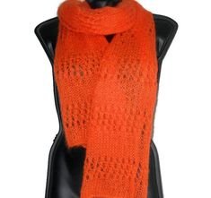 Items similar to Orange mohair long scarf for women Hand knit neck scarf Wool knit orange scarf Eco friendly Woman accessories Gift for her on Etsy Orange Scarf, Red Silk, Long Scarf, Neck Scarves, Lace Design, Womens Scarves, Hand Knitting, Knit Crochet, Women Accessories