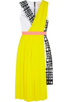 Roksanda Ilincic|Pleated crepe, satin and laser-cut neoprene dress|NET-A-PORTER.COM  http://www.net-a-porter.com/product/432231/Roksanda_Ilincic/pleated-crepe-satin-and-laser-cut-neoprene-dress