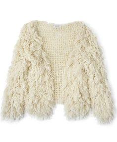Ivory Crochet Fringe Cardigan by Ryan Roche