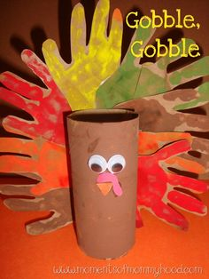 Toilet Paper Roll Turkey Handprint and toilet paper roll turkey painted a toilet paper roll with some brown paint Then, using a brown paper bag, I printed several handprints with different colors of paint. fanned out the handprints and glue t Crafts To Do, Fall Crafts, Holiday Crafts, Holiday Fun, Arts And Crafts, Holiday Parties, Christmas Holidays, Daycare Crafts, Toddler Crafts