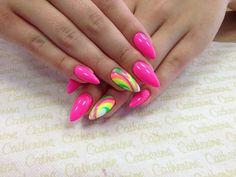 Bright pink nails.