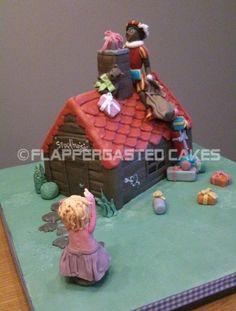 Sinterklaas taart met zwarte piet op het dak By Flappergasted Cakes Cake Designs, Gingerbread, Cupcakes, Desserts, Food, Tailgate Desserts, Cupcake Cakes, Deserts, Ginger Beard