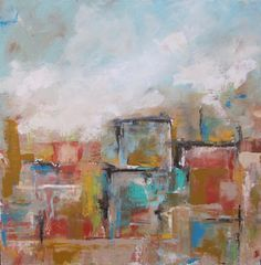 Cityscape Original Painting on Canvas- Abstract City with Red 20 x 20