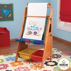 kids desk with paper roll | New Kids Wood Art Easel with Paper Roll Chalk & Dry Erase Board + Desk ...