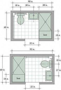 Small Bathroom Floor Plans, Small Bathroom Layout, Simple Bathroom, Small Bathroom Dimensions, Small Bathrooms, Small Master Bathroom Ideas, Minimal Bathroom, Narrow Bathroom, Small Kitchens