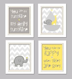 Nursery Quad Yellow and Grey Nursery You are my by ChicWallArt, $37.00