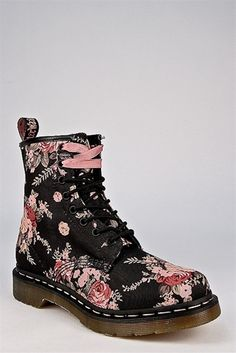Dr. Martens - 1460 W Victorian Flowers Ankle Boot - Black - So gorgeous. Perfect with leggings or skinny jeans.