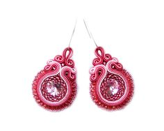 Soutache earrings - elegant, sparkling, sweet  and perfect for the wedding, bride, bridesmates  - Pink Swarovski Love