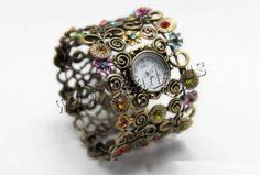 Reloj Brazalete, aleación de zinc, con Vidrio, chapado en color bronce antiguo, con patrón de flores & esmalte & con diamantes de imitación, 63mm, longitud:aproximado 7.5 Inch, 5Strandsfilamento/Grupo, Vendido por Grupo,Abalorios de joyería por mayor de China
