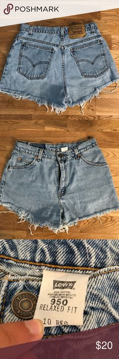 Levi's Distressed Denim Shorts Levi's Distressed Denim Shorts -Size 10, relaxed fit  -Top to bottom length: 12in.  -Item has been Distressed by manufacturer  -In excellent pre-owned condition  -$50+ retail  -Tap in Levi's Shorts Jean Shorts