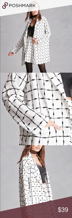 Independent Label Oversized Blazer Brand new with tags. Perfect for office wear or for a night out. Comes in a gorgeous black and white printed pattern. A true statement piece that even fashion bloggers like Jenn Im would definitely wear. (Independent Label) Jackets & Coats