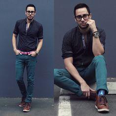 21 Men Pindot Shirt, Hot Topic Jeans, 21 Men Belt, H&M Shoes, Tom Ford Glasses, Diesel Watch, 21 Men Bracelet, Richer Poorer Socks