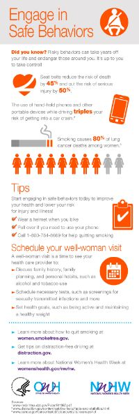 Risky behaviors can take years off your life and endanger those around you. It's up to you to take control! Engage in safe behaviors this National Women's Health Week. Health And Wellness, Health Care, Women's Health, Health Goals, Health Matters, Women Facts, Health Images, Health Lessons, Health Resources