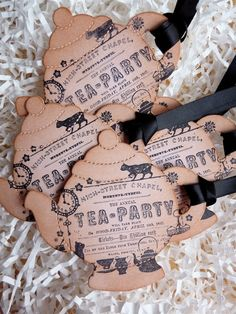 Tea Party Bridal Shower Teapot Vintage Tags Set of by ifiwerecards, $6.95