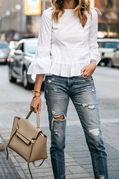 Fashion Jackson, Club Monaco White Ruffle Top, Denim Ripped Relaxed Jeans, Celine Belt Bag