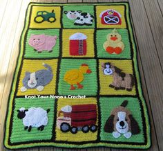 Farm animals baby blanket. Animal applique patterns not included, but are available for purchase at ravelry.com.
