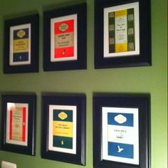 Ikea frames, 1.99/each. Penguin book cover postcards, 15 for box of 100.