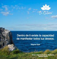 """""""Dentro de ti existe capacidad de manifestar todos tus deseos"""".  Te invitamos a seguir nuestros consejos y reflexiones #wellness en http://la-calma.es/seccion/blog/"""