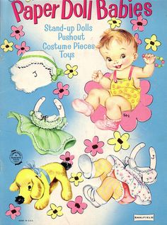 """BABY PAPER DOLLS {Baby Joy} Published by Saalfield in 1944 and reprinted in 1954. 1959 the same dolls and outfits were reprinted with a different cover, titled """"Baby Dears"""" number 4414 and were called """"Statuette Dolls. 1 of 6"""