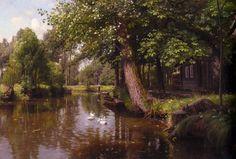 Peder Mork Monsted (Peder Mork Mønsted) (1859-1941) Flodbred Oil on canvas 1914