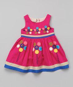 Fuchsia Circle Flower Swing Dress - Infant, Toddler & Girls
