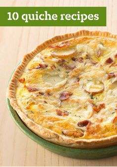 10 Quiche Recipes -- Quiche: the perfect breakfast-time or brunch pie. It's a way for eggs and cheese (and a few friends like spinach, ham, peppers, etc.) to come together and get a party going.
