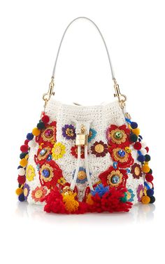 Claudia With Raffia Flowers & Crystal Stones Bucket Bag by DOLCE & GABBANA for Preorder on Moda Operandi