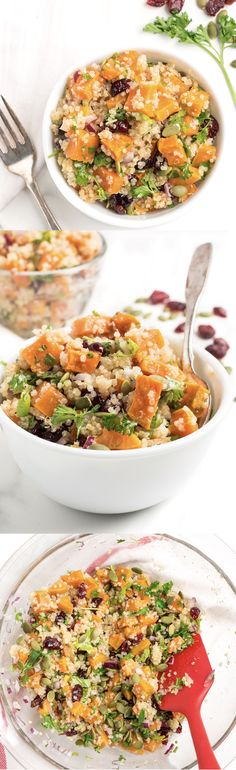 Roasted Sweet Potato Quinoa Salad | healthy salad recipe | gluten free and vegetarian | easy to make | Click through for the full recipe -- nourishedtheblog.com |