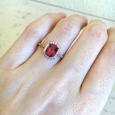 Oval Garnet Engagement Ring Rose Gold Garnet Promise by Belesas