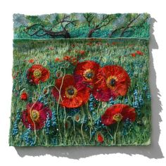 1461 Field with Poppies 10x10 from Natalia Margulis | Square Market