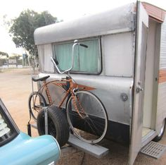 1966 Aristocrat, Australian vintage caravan and retro dragster bike.