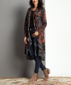Another great find on #zulily! Charcoal Floral Open Drape Cardigan #zulilyfinds