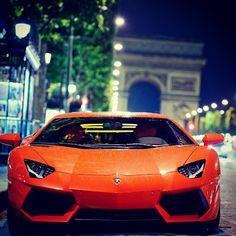 Lamborghini Aventador, Paris OMGOMGOMGOMG it's orange it's in Paris and its a Lamborghini!!!!!