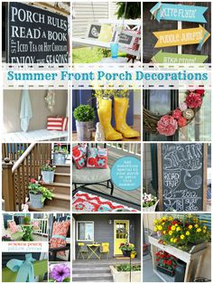 Time to bring out cute thibgs again. Summer Front Porch Decorating Ideas, I think we could brighten the front up with a few of these Summer Porch Decor, Summer Front Porches, Outdoor Spaces, Outdoor Living, Indoor Outdoor, Outdoor Decor, Outdoor Ideas, Porch Decorating, Decorating Ideas