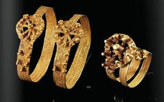 A collection of gold granulated bracelets and ring, Greek mid 5th century A.D.