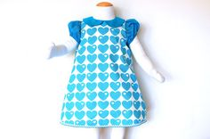BLUE HEARTS baby girls handmade dress with short puff sleeves and peter pan collar, retro girls dress made with vintage 70's fabric