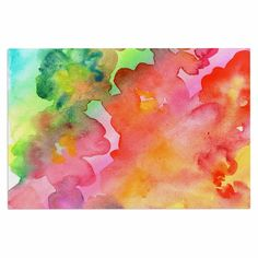 "Louise Machado ""Spring Colours"" Watercolor Floral Decorative Door Mat"