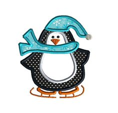 Penguin on Skates Applique Machine Embroidery Design-INSTANT DOWNLOAD