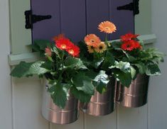 For Girl's new playhouse - DIY paint can flower box for kid's playhouse Painted Playhouse, Girls Playhouse, Backyard Playhouse, Build A Playhouse, Playhouse Windows, Playhouse Ideas, Paint Can Planters, Playhouse Interior, Diy Flower Boxes