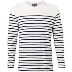 Witchery Surf Stripe Long Sleeve T-Shirt (120 BRL) ❤ liked on Polyvore featuring men's fashion, men's clothing, men's shirts, men's t-shirts, men, shirts, tops, mens stripe shirts, mens striped long sleeve t shirt and mens long sleeve t shirts