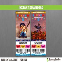 Disney Coco Birthday Ticket Invitations - Instant Download and Edit with Adobe Reader - Coco Birthday Invitation - Day of the Dead Party by SunnyGeckoDesign on Etsy