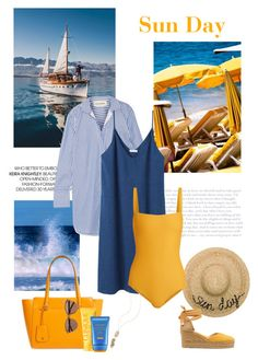 """""""Sun Day"""" by isidora ❤ liked on Polyvore featuring Eugenia Kim, By Malene Birger, Castañer, 6397, Matteau, Tory Burch, Clinique, Shiseido, Kendra Scott and Witchery"""