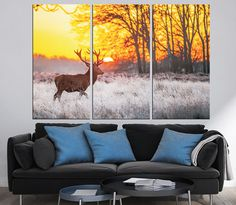 Large Deer Photography Multi Panel Canvas Print Ready to Hang