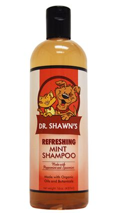 Dr. Shawns Mint Shampoo.  Saponified organic coconut, olive and jojoba oils, organic aloe vera, organic peppermint, organic spearmint, and naturally extracted rosemary as a natural preservative.  For dogs & cats over 8 weeks of age.  Made in the USA. $11.40 (40% off). Limited Quanity.  www.doggiesunlimited.com