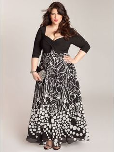 Bold black and white pieces will make your wardrobe pop this spring. This beauty can be worn in the day or night with its elongating print chiffon skirt and 3/4 length sleeves. Add pumps in a hot color or keep it monochromatic in classic black.